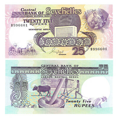 1989 Seychelles 25 Rupees Crisp Uncirculated Banknote