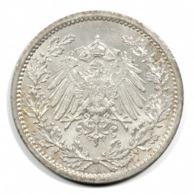 German Empire Crowned Imperial Eagle 1/2 Mark 1914  A BU Silver KM17