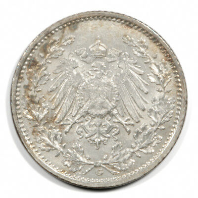 German Empire Crowned Imperial Eagle 1/2 Mark 1915  G BU Silver KM17