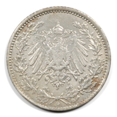 German Empire Crowned Imperial Eagle 1/2 Mark 1915  D BU Silver KM17
