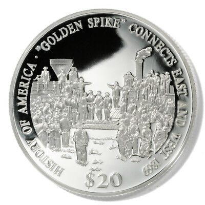 Liberia Golden Spike $20 2000  Proof Silver Coin KM-712