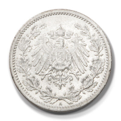 German Empire Imperial Coinage 1/2 Mark 1914 A AU Km17