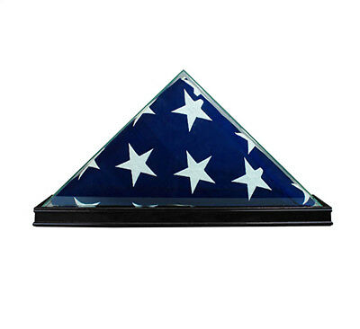REAL GLASS WOOD 5 x 9.5' FLAG DISPLAY CASE BLACK for Burial Funeral Veterans