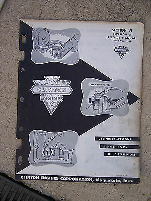 1959 Clinton Engine Cylinder Piston Rings Rods Oil Distributors Service Manual G