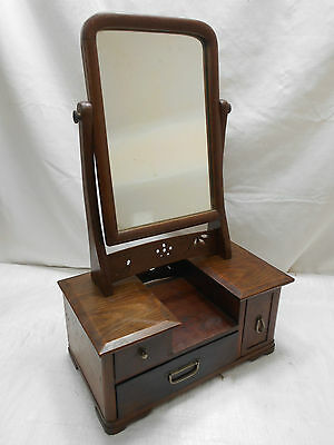 Vintage Keyaki and Sugi Wood Mirror Box DresserJapanese Drawers Circa 1930s #385