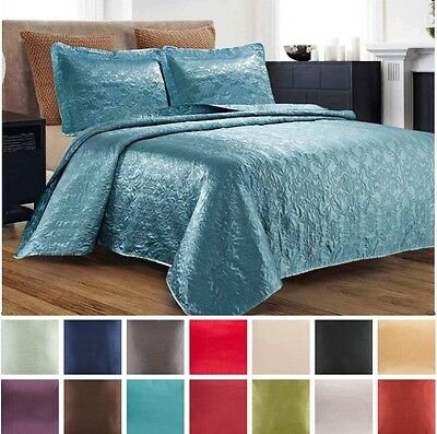 3 Piece Silky Satin Quilted Bedspread Coverlet Set King Queen Size LOOK + Colors
