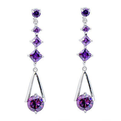 Amethyst Hook Earrings Purple CZ Drop/Dangle Women's 10KT White Gold Filled Gift
