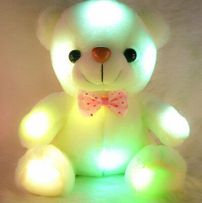 Fashion White Plush Geim Velvet Teddy Bear Glow Light Up Rotation Toy Gift