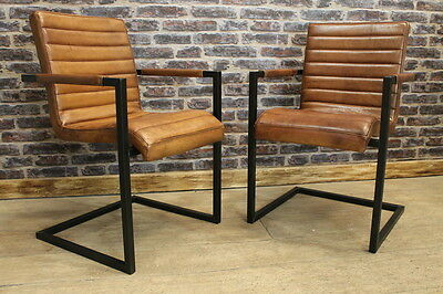 Vintage Industrial Style Dining Chair Leather Office Armchair The Haydock