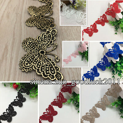 1 Yard, Polyester Embroidered Butterfly Lace Trim Ribbon Sewing DIY Craft FL43