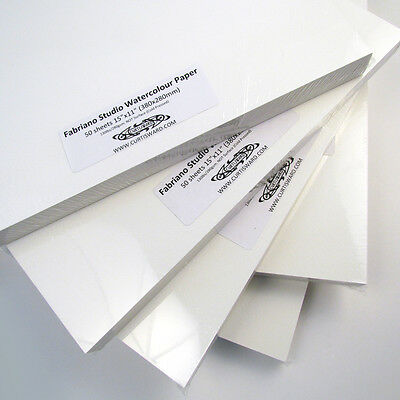 "Fabriano Studio WaterColour Paper 1/4 Sheets (15""x11"") Pack 50. 280gsm. Artists."