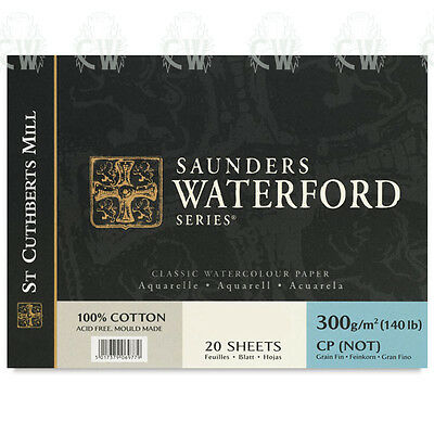 """Saunders Waterford Artists Watercolour Paper BLOCK 12""""x16"""" NOT Surface"""
