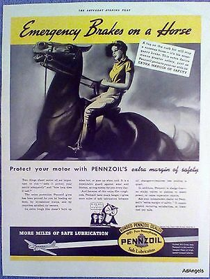 1937 Pennzoil Motor Oil Lady Riding Horse Emergency Brakes United Air Lines ad
