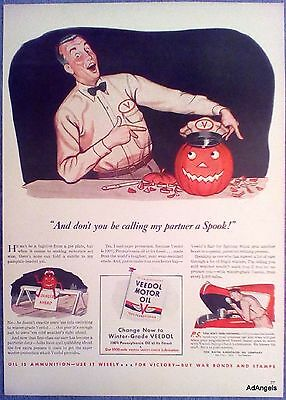 1942 Veedol Motor Oil Jack O Lantern Don't Call My Partner A Spook Pumpkin ad