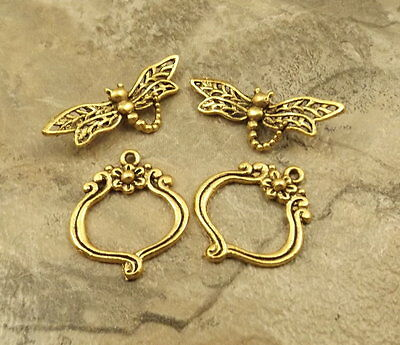 2 Gold Tone Pewter Dragonfly Toggle Clasps - 5010