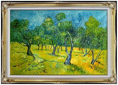 Framed Van Gogh Olive Orchard Repro, Quality Hand Painted Oil Painting, 24x36in