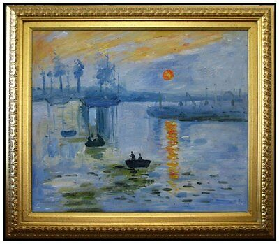 Framed, Claude Monet Impression Sunrise Repro, Hand Painted Oil Painting 20x24in