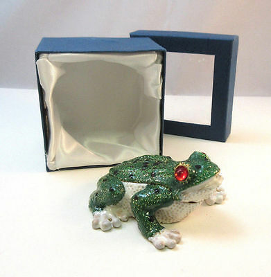 Cute Enamel Glazed Frog Trinket Box W/ Box ***