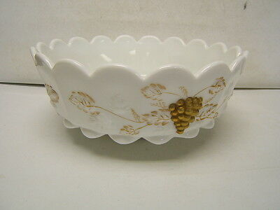 Westmoreland Milk Glass Console Paneled Grape Gold Accents Mint 10.5""