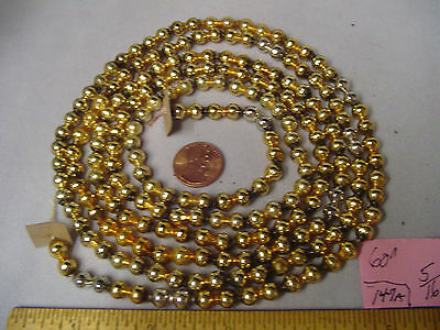 "Christmas Garland Mercury Glass Gold & Silver 60"" Long 5/16"" Beads #147A Vintage"