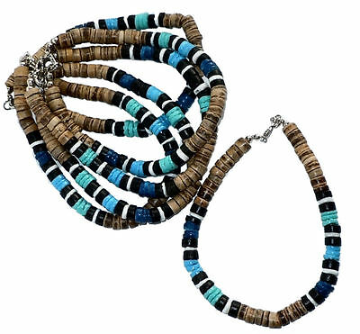 6x Blue Puka Shell ANKLETS with Brown Coco Beads - Wholesale Jewelry - Bulk NEW