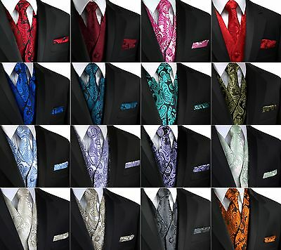 Men's Paisley Tuxedo Vest, Tie and Hankie. Formal, Dress, Wedding, Prom