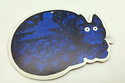 B.Kliban Blue Cat Die Cut Ornament Yellow Backing