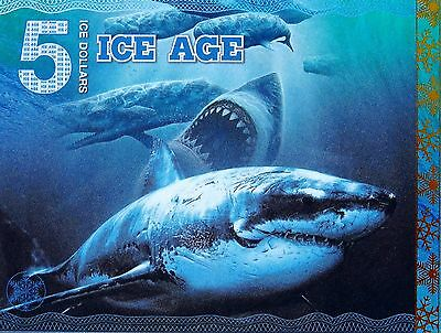 2015 Fantasy Banknote 5 Ice Dollars Megalodon Pre-historic Shark collectible