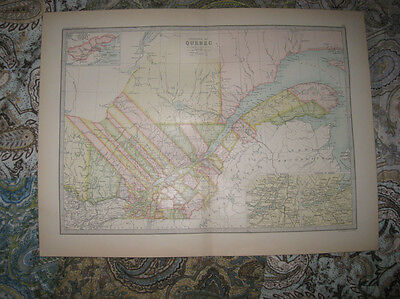 Antique 1880 Quebec Province & City Montreal Canada Lithograph Map Detailed Nr