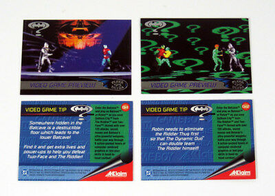 1995 Fleer Ultra Batman Forever Acclaim Video Tips Card Set (2) Nm/Mt