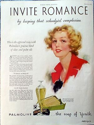 1933 Palmolive Soap Invite Romance Keep Schoolgirl Complexion J Knowles Hare ad