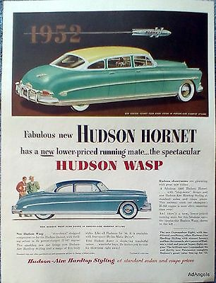 1952 Hudson Hornet Sedan Wasp Club Coupe Hudson Aire Hardtop Styling ad