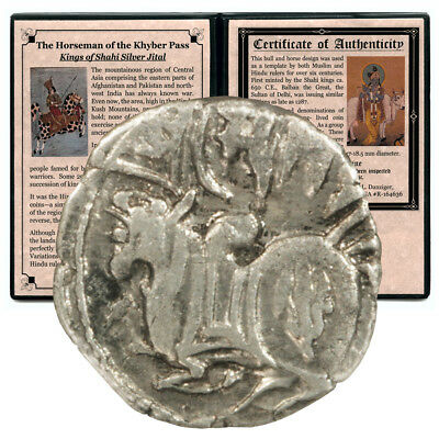 Afghanistan Kyber Pass Kings of Shahi Silver Jital 650AD to 1287AD Descriptive F