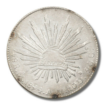 Mexico Cap and Rays 8 Reales 1894 MoAM XF KM377.10