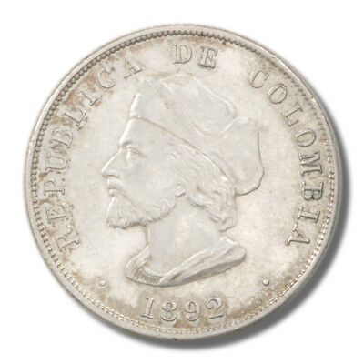 Columbia Hat Points to Right Limb of A 50 Centavos 1892  XF+ KM187.1