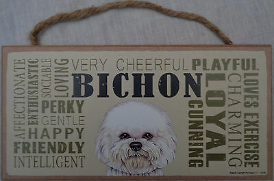 BICHON (Frise) Subway Style  5 X10 hanging Wood Sign made in the USA