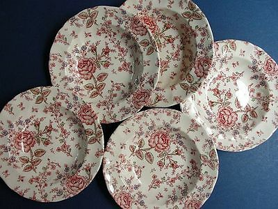Johnson Brothers England 1883 Set Of 5 Rose Chintz Rim Soup Bowls  Excellent