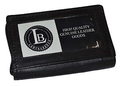Card Picture Holder All Around Zipper Black 30 Pages Genuine Leather