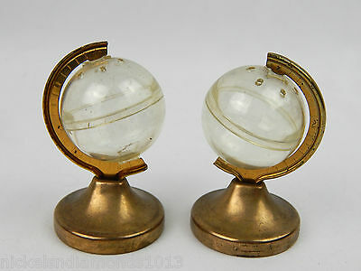 Vintage Small Clear & Gold tone World Globe Shaped Salt & Pepper Shaker Set