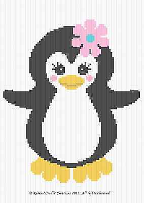 Crochet Patterns - PENGUIN BABY GIRL Graph/Chart afghan pattern *EASY*