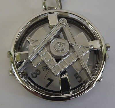 New Silver Tone Masonic Mason Pocket Watch With Protective Case Square & Compass
