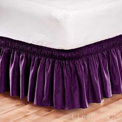 Elastic Bed Skirt Dust Ruffle Easy Fit Wrap Around Purple Color King Size
