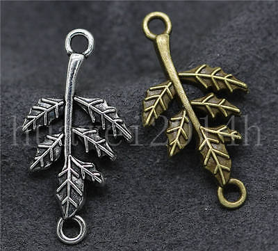 10/40/200pcs Antique Silver Beautiful Leaves Jewelry Charms Connectors 32x17mm