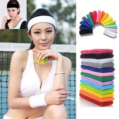 WS AU Womens Mens Sports Sweat Sweatband Stretch Anti-sweat Jogging Head Band