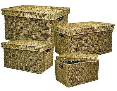 e2e Rectangular Lidded Seagrass Box Gift Hamper Storage Basket with Handle Holes
