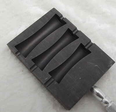 "GRAPHITE Paddle Large Spool Bead Shaper 3 x 2.25 x .6 in 9.75"" Long Hot Glass"