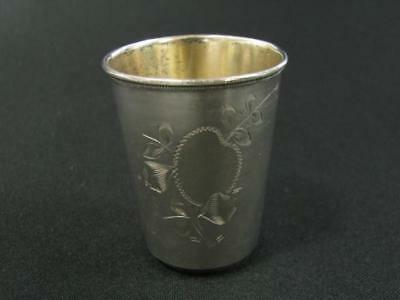Antique Russia Russian Silver Silver Plate ? Engraved Mini Cup Marked 13 M 84