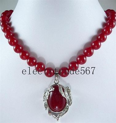 Beautiful 8mm Red Ruby Gemstone Pendant Necklace 18''