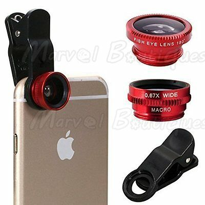 Red Wide Angle 180° Fish Eye Macro Clip Camera Lens Kit for Smart Mobile Phone