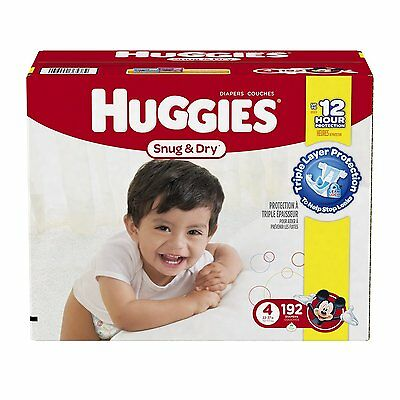 Huggies Snug and Dry Diapers, Size 4, Economy Plus Pack, 192 Count, New